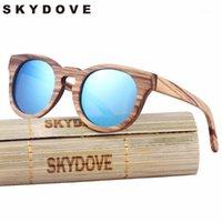 Sonnenbrille Skydove Ovale hölzerne Frauen Zebra Vintage Sonnenbrille Holz Polarisierte UV400 Bambus Men1