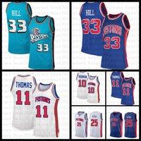 2021 Yeni Basketbol Forması DetroitPiston Mens Grant 33 Hill Mesh Retro Dennis 10 Rodman Isiah 11 Thomas Derrick 25 Rose