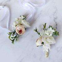 1 Parça El Yapımı Düğün Çiçekler Damat Boutonniere veya Gelin Nedime El Bilek Çiçek Avrupa İpek Yapay Çiçek Korsage
