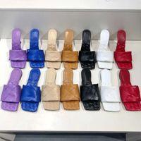 2021 مثير شقة الشرائح lido الصنادل المنسوجة النساء النعال مربع البغال أحذية السيدات الزفاف عالية الكعب أحذية اللباس أحذية أعلى جودة مع مربع