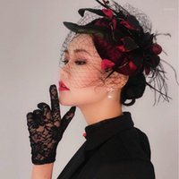 Party Hats Вино красное платье головной убор Принцесса Англии знаменитости вечерняя шапка Cheongsam волос лошадь клуб бархатный экран Cap1