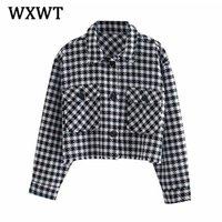 Женские куртки WXWT женская мода плед короткие куртки пальто весна осень с длинными рукавами женские темперамент верхнее одежда верхняя одежда Все-матча Tops SHE8250