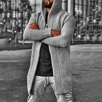 autumn winter men's cardigan solid color hooded turtleneck sweater coat man sweater Red khaki gray brown black blue
