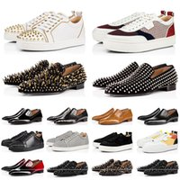 CL moda zapato de plataforma de corte bajo fondos rojos cuero de gamuza tachonado picos pisos zapatos casuales hombres de amantes de la fiesta zapatos de vestir