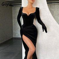 Gelegenheitskleider Giyu Samtkleid Frauen Nachtclub Party Sexy Slim Split Rüste Backless Midi 2021 Herbst Vintage Elegant Vestidos1