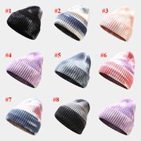 Designer Chapeaux Tie-dye pull-over tricoté chapeau chapeau hiver chaud de chapeau de curling féminin en plein air rayé chapeaux en laine
