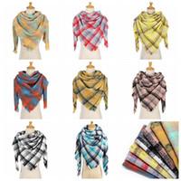 8 Renkler Moda Kadınlar Ekose Atkılar Izgara Püskül Şal Kış atkısı Kafes Üçgen Battaniye Eşarp CYZ2850