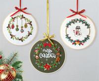 Kit nuove arti di Natale fai da te ricamo d'avviamento con il motivo di Natale a tema Embroidery Hoop panno di lino cotone Filo Ricamo mestiere di cucito