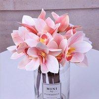 4 헤드 난초 목련 cymbidium 인공 실크 꽃 작은 꽃다발 플로레스 홈 파티 봄 웨딩 장식 가짜 꽃 1
