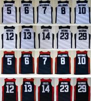 2012 Dream Team Kevin 5 Durant LeBron 6 James 10 Bryant Chris Paul Harden Williams Westbrook Davis Blue Blue White NCAA Basketball Jerseys