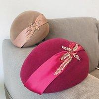 2020 élégant dames automne zbow bérets à la main strass perlant feuilles Fedora Cap pure laine chapeau chapeau chaude chapeau chapeau chapeau