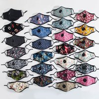 Face Mask With Valve Fashion Flower Printed Dust Mouth Masks Washable Reusable Women Men Adjustable Protective