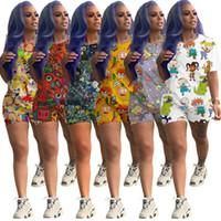 Мода мультфильм напечатанные повседневные женские дизайнер трексуиты с коротким рукавом наряды 2 шт. Рубашка + брюки спортивные костюмы Clubwear A01