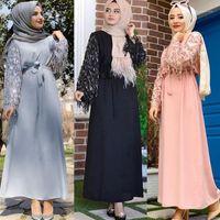 Vestuário étnico lantejoulas tassel abaya dubai muçulmano hijab vestido abayas para mulheres kaftan craftan islâmico turco vestidos robe femme roupas1
