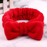 New Solid Color Coral Fleece Soft Bow Headbands For Women Girls Wash Face Hair Holder Bathing Hairband Headwear Hair Accessories Y0124