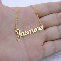 Custom Name Halskettenweinleseart Actual Handschrift Unterschrift Halskette Women Männer Choker Friendship-Geschenk für sie