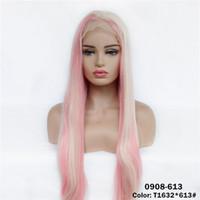 12 ~ 26 Zoll volle gerade Synthetische Spitze Frontperücken T1632 * 613 # Mix Color Simulation Menschliches Haar Perranen de Cheveux Demonstranten