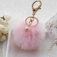 Coelho Fofo Fur bola Pompon Keychain Para Mulheres Cadeia bonito Pom Pom Pérola Key On Bag Car Trinket Feminino casamento jóias de partido