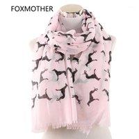 Châles Foxmother Mode Foulards Printemps Été Rose Rose Blanc Doberman Chien Écharpe imprimé Animal pour Amant Maman Cadeaux Drop1