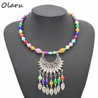 Olaru Schmuck Tibet Trendy Böhmen Blatt-Korn-Hand-Arbeit-Halsketten Frau Nation Kragen Opulente Halskette Accessoires