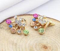 Boucles d'oreilles en diamant bijoux coréenne arc de boucles d'oreille couronne de boucles d'oreilles colorées en plusieurs couleurs