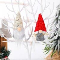 2021 Christmas Ornament Gestrickte Plüsch Gnome Puppe Angel Mauer Hanging Anhänger Urlaub Dekor Geschenk Baum Dekorationen 18 Arten