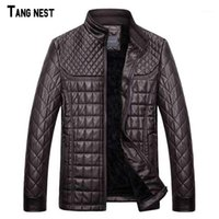Couro masculino Faux Tangnest Homens Pu Jackets 2021 Inverno Fleece Quente Slim Fit Sky Collar Cool para Man MWP4801