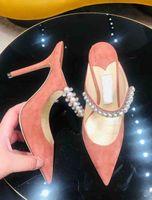 Diseño popular Bing Vestido de boda Mujer Tacones altos Crystal Pearl Strap Femenk's Brands Bombas Point Toe Sexy Lady Shoes Shoes EU35-41
