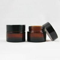 Brown Amber Glass Glass Cream Jar Black Lid 515 30 50 100 100 100 Glivido cosmetico Imballaggio Esempio di crema per gli occhi YYF4293