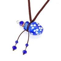 Yingwu Blue Murano Glass маленький красочный масляный пепел Урн бутылка бутылка подвесной флакон ожерелье1