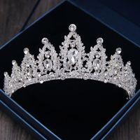 Baroque Luxo Rhinestone Crown Crown Tiaras Handmade Cristal Diadem Tiaras para Noiva Headbands Acessórios De Cabelo De Casamento