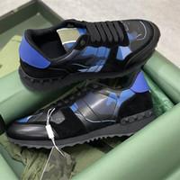 Hombres Rockrunner Camuflaje zapatillas de deporte zapatos de corredor Malla de cuero WTIH Stud Remache de calidad superior de cordones con caja de regalo 264
