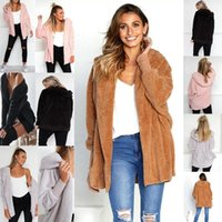 2020 Autumn Winter Women Fluffy hooded Long Sleeve Jacket Ladies Warm Outerwear Cardigan Coat sweater coat 4 color