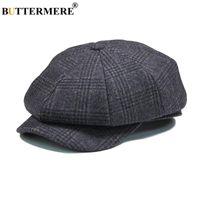 Buttermere Mens Plaid Beret Boné de lã cinza Outono-Inverno Newsboys Vintage Chapéus Masculino britânica Cabbie octogonal Gatsby Caps