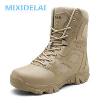 MIXIDELAI Boyut 39-47 Çöl Taktik Erkek Çizme Giyim dayanıklı Ordu Boots Erkekler Su geçirmez Açık Yürüyüş Erkekler Combat Bilek Boots 201019