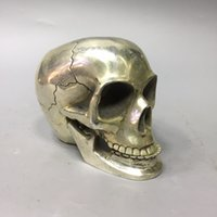 A83 Collection Folk Art Vintage Rare old Chinese Tibetan silver hand-carved Skull statue