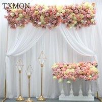 Txmon benutzerdefinierte schöne 1m seide rose hortensie blume reihe künstliche blumen hochzeit dekoration reihe bogen tür gefälschte blumen1
