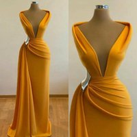 2021 Mermaid Ginger Prom Dresses Deep V Neck Satin Sexy Evening Dress Cheap Cocktail Party Sweep Train Formal Occasion Wear robes de soiree