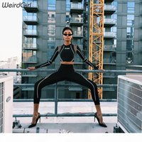 weirdgirl Two Piece Set 2018 women Tracksuit casual Fitness ...