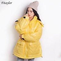 Fitaylor зима Женщины Яркие цвета с капюшоном Теплый снег вниз пальто 90% белая утка вниз Parkas Свободный Стенд Воротник ветрозащитный Outwear