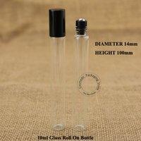50pcs / Lot 10ml Atacado garrafa de perfume de vidro Roll on Vial Parfume 1 / 3oz Container recarregáveis Embalagem Jar óleo essencial