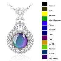 Moda Mood Değişim Renk Sıcaklığı Kadınlar için Hassas Kolyeler Opal Gemstone Kolye Zincirler Duygu Düğün Takı Hediye 163 O2