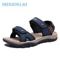 MIXIDELAI Yüksek Kalite Yaz Erkekler Sandalet Deri Speeksplit Yumuşak Rahat Erkekler Ayakkabı Yeni Moda Erkekler Rahat Ayakkabılar Boyutu 39 ~ 46 Y200702