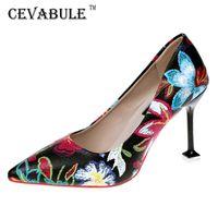 Cevabule apontou saltos altos bem com elementos retros chineses padrão floral sapatos decorativos sapatos de moda atacado lss