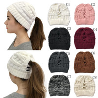16Styes Criss Cross Beanies Girl Winter Knitted Hats Women Cross Ponytail Beanie Outdoor Crochet Beanies Caps Party Hat GGA3764