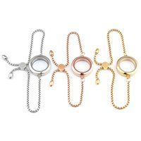 Link, Chain URSJEWELRY 25mm 30mm Twist Locket Bracelet 316L Stainless Steel Floating Charms Clear Glass With Adjustable