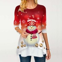 Kadınlar Noel Bluz Gömlek Plus Size Noel Baba Baskı Noel Uzun Kollu Gömlek Kış Kadın Roupas Feminina Lady Bluzlar Tops