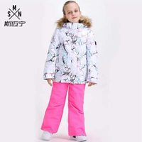 Smn Kids Ski Terno Meninas Esqui de roupas de roupa à prova de vento à prova de vento À Prova D 'Água ao ar livre desgaste desgaste da criança com capuz jaqueta com capuz respirável1