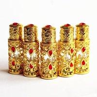 1PC 3 ml Antiqued Metall Parfüm-Flasche arabischen Stil Ätherische Öle Flasche Legierung Dropper Glas Hochzeit Dekoration Geschenk