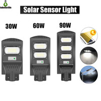 60W 90W 120W Grey Solar Street Light Motion Sensor Wasserdichte IP66 Wandleuchte Outdoor Landschaft Gartenlicht mit Pole